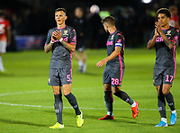 Leeds United's Ben White and Helder Costa applaud the fans after the match<br /> <br /> Photographer Alex Dodd/CameraSport<br /> <br /> The Carabao Cup First Round - Salford City v Leeds United - Tuesday 13th August 2019 - Moor Lane - Salford<br />  <br /> World Copyright © 2019 CameraSport. All rights reserved. 43 Linden Ave. Countesthorpe. Leicester. England. LE8 5PG - Tel: +44 (0) 116 277 4147 - admin@camerasport.com - www.camerasport.com