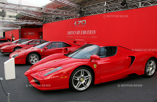 "October 12, 2017, Tokyo, Japan - Italian sports car maker Ferrari's legendary sports cars are displayed outside of Tokyo's Kokugikan sumo gynmasium to celebrate Ferrari's 70th anniversary event on Thursday, Octoebr 12, 2017. Ferrari also displayed their latest model ""LaFerrari Aperta"".   (Photo by Yoshio Tsunoda/AFLO) LWX -ytd"
