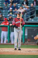 Mike Yastrzemski (5) of the Sacramento River Cats bats against the Salt Lake Bees at Smith's Ballpark on April 12, 2019 in Salt Lake City, Utah. The River Cats defeated the Bees 4-2. (Stephen Smith/Four Seam Images)