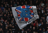 Union Bears flag in the Celtic v Rangers City of Glasgow Cup Final match played at Firhill Stadium, Glasgow on 29.4.13,  organised by the Glasgow Football Association and sponsored by City Refrigeration Holdings Ltd.