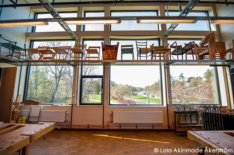 Furniture designed by students are  used to decorate rooms  and departments all over the school with their roof-high windows.