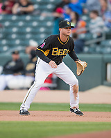Matt Williams (7) of the Salt Lake Bees on defense against the Sacramento River Cats in Pacific Coast League action at Smith's Ballpark on April 13, 2017 in Salt Lake City, Utah.   Salt Lake defeated Sacramento 4-3. (Stephen Smith/Four Seam Images)