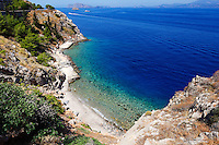 A beautiful beach near the port of Hydra island in Greece