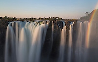The Main Falls of Victoria Falls with rainbow