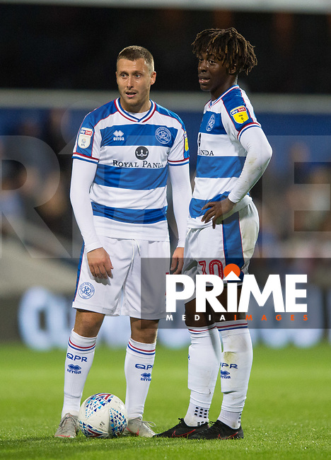 QPR Luke Freeman  and Eberechi Eze during the Sky Bet Championship match between Queens Park Rangers and Millwall at Loftus Road Stadium, London, England on 19 September 2018. Photo by Andrew Aleksiejczuk / PRiME Media Images.