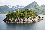 Small island, a roche moutonnee glacial landform, southern coast of Hinnoya Island, Nordland, northern Norway
