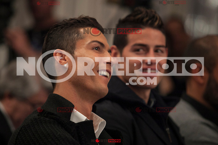 Real Madrid´s Cristiano Ronaldo (L) and James Rodriguez attend Jorge Mendes´s book presentation in Madrid, Spain. January 22, 2015. (ALTERPHOTOS/Victor Blanco) /NortePhoto<br />