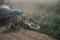 Michael Goolaerts (BEL/V&eacute;randas Willems-Crelan) crashed and being helped by the neutral car<br /> <br /> 92nd Schaal Sels 2017 <br /> 1 Day Race: Merksem &gt; Merksem (188km)