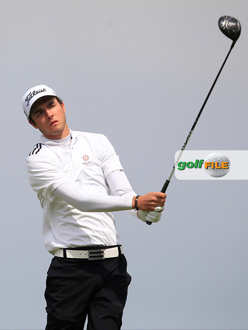 Harry Goddard (Hanbury Manor) on the 8th tee during Round 3 of the Flogas Irish Amateur Open Championship 2017 at Royal County Down on Saturday 13th May 2017.<br /> Photo: Golffile / Thos Caffrey.<br /> <br /> All photo usage must carry mandatory copyright credit     (&copy; Golffile | Thos Caffrey)
