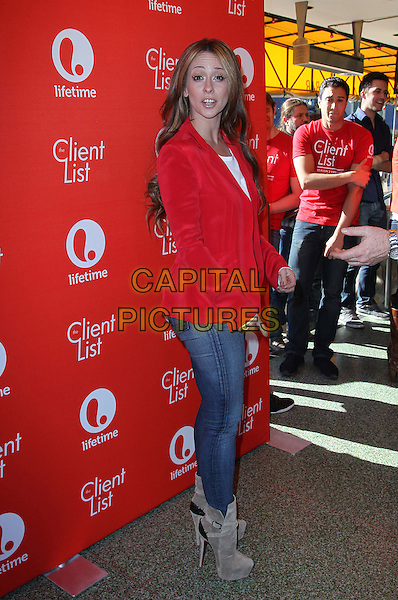 "Jennifer Love Hewitt.Jennifer Love Hewitt's ""The Client List"" Valentine's Day Event Held At Mel's Diner, Los Angeles, California, USA, .14th February 2013..full length red jacket white top smiling blazer jeans grey gray suede christian louboutin boots side funny .CAP/ADM/KB.©Kevan Brooks/AdMedia/Capital Pictures."
