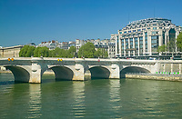 Pont Neuf (New Bridge) bridging the Seine river and the Samaritaine department store, Paris France