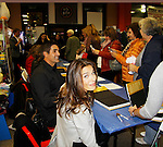 """Cast of Days Of Our Lives -  Kristian Alfonso """"Hope Williams Brady"""", Galen Gering """"Rafe Hernandez"""" sign book """"Days Of Our Lives 50 Years"""" by Greg Meng - author & co-executive producer on October 27, 2015 at Books & Greetings, Northvale, New Jersey. (Photo by Sue Coflin/Max Photos)"""