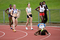17 JUL 2008 - LOUGHBOROUGH, UK - Montell Douglas celebrates breaking the British womens 100m record in a time of 11.05 seconds - 100m -  Loughborough European Athletics Permit Meeting. (PHOTO (C) NIGEL FARROW)