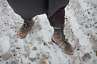 Kyrgyz shoes, in -30C. Between Ortobil and Kyzyl Qorum...Trekking with yak caravan through the Little Pamir where the Afghan Kyrgyz community live all year, on the borders of China, Tajikistan and Pakistan.
