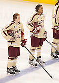 Caitlin Walsh (BC - 11), Blake Bolden (BC - 10) - The Boston College Eagles defeated the visiting Harvard University Crimson 3-1 in their NCAA quarterfinal matchup on Saturday, March 16, 2013, at Kelley Rink in Conte Forum in Chestnut Hill, Massachusetts.
