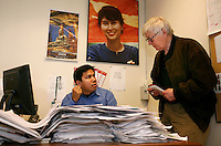 Journalist Htet Aung Kyan being interviewd by der Spiegel journalist Erich Wiedemann. Democratic Voice of Burma is radio and TV station run by exiled Burmese. Opposing the government, the DVB has been transmitting, from the Norwegian capitol Oslo, into Burma since 1992.