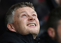2nd November 2019; Vitality Stadium, Bournemouth, Dorset, England; English Premier League Football, Bournemouth Athletic versus Manchester United; Ole Gunnar Solskjear Manager for Manchester United considers the rain before kick off - Strictly Editorial Use Only. No use with unauthorized audio, video, data, fixture lists, club/league logos or 'live' services. Online in-match use limited to 120 images, no video emulation. No use in betting, games or single club/league/player publications