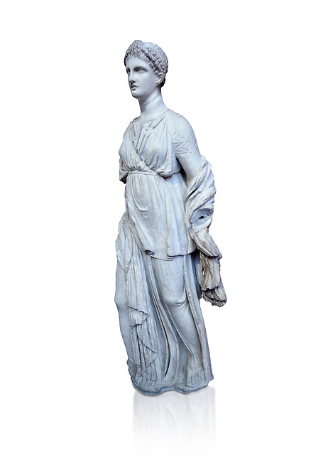 Statue of Artemis, found at the 'House of Diadoumenos' on Delos. Pariam marble, Circa 100 BC. Athens Archaeological Museum, Cat No 1829. Against white, <br /> <br /> Artemis wears a chiton, a girt and himation. The diagonal strap ocross her breast will have held the quiver full of arrows. The Goddess's beauty is stressed by her elaborate coiffure.