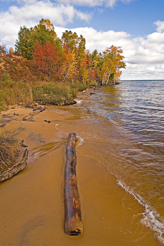 Lake Superior wilderness beach with fall color in Michigan's Upper Peninsula near Whitefish Point.