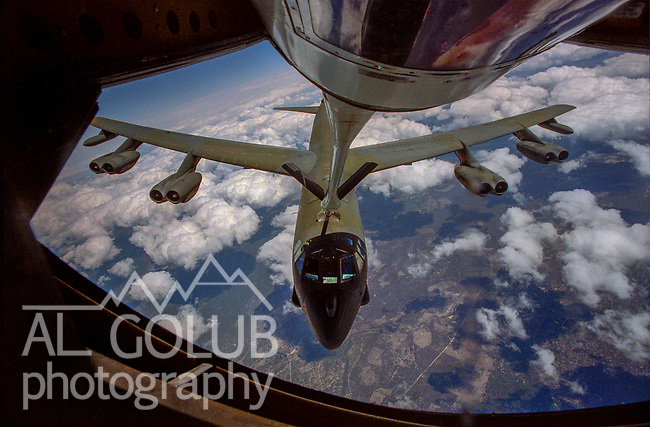 KC 135 refueling mission out of Castle Air Force Base on May 05, 1988.  Refueling was done some where over Oregon and Southern Washington. Photo By Al Golub<br /> <br /> <br /> Castle is named for Brigadier General Frederick W. Castle, who died on Dec. 24, 1944 flying his 30th bombing mission. He died leading an armada of 2000 B-17s on a strike against German airfields. On the way to the target, an engine failure over Liege, Belgium caused his bomber to fall behind, where it was attacked by Germans and caught fire. He ordered his men to bail out but stayed alone at the controls of the flaming Flying Fortress until it crashed. The entire crew, except Gen. Castle and one airman killed before the bailout order, survived. Gen. Castle received a Medal of Honor posthumously for his bravery.<br /> <br /> Castle became home to the 93rd Bombardment Wing in 1947. Aircraft stationed at Castle included B-29, B-17 and C-54 aircraft, with B-50 bombers arriving in 1949. In 1954, B-47 bombers arrived.  On June 29, 1955, Castle received the Air Force's first B-52. These heavy bombers can hold the equivalent of three railroad cars' worth of fuel. The first Air Force KC-135 jet tanker arrived May 18, 1957<br /> <br /> Castle was selected for closure under the Defense Base Closure and Realignment Act of 1990 during Round II Base Closure Commission deliberations (BRAC 91). The last of the B-52s left the base in 1994, followed by the departure of the last of the KC-135s in early 1995. The base closed September 30, 1995.