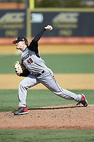 Louisville Cardinals relief pitcher Rabon Martin (40) in action against the Wake Forest Demon Deacons at David F. Couch Ballpark on March 18, 2018 in  Winston-Salem, North Carolina.  The Demon Deacons defeated the Cardinals 6-3.  (Brian Westerholt/Four Seam Images)