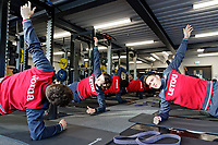 Connor Roberts (R) and team mates exercise in the gym during the Swansea City Training at The Fairwood Training Ground, Swansea, Wales, UK. Thursday 11 January 2018