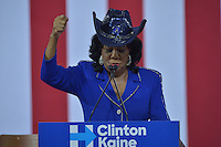 MIAMI, FL - JULY 23: United States House of Representatives Frederica Wilson speaks during a rally for the Democratic Presumptive Nominee for President and former Secretary of State Hillary Clinton and the Democratic candidate for Vice President, U.S. Senator Tim Kaine (D-VA) at the Florida International University Panther Arena in Miami, Florida on July 23, 2016. With two days to go until the Democratic National Convention, Hillary Clinton is campaigning in Florida.   Credit: MPI10 / MediaPunch