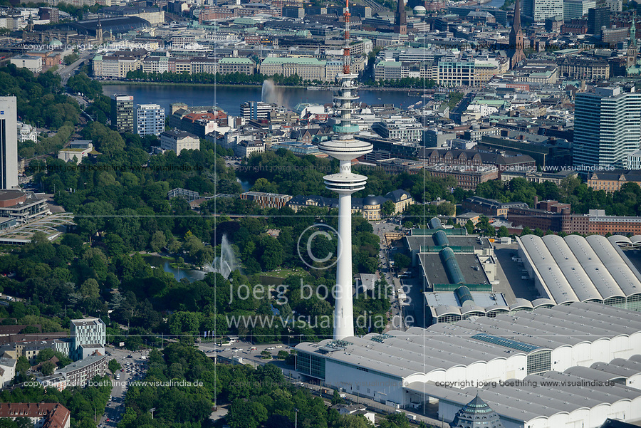 GERMANY, Hamburg, aerial view of city park Planten and Blomen, exhibitions hall, TV tower and alster lake