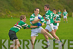 South Kerry's Niall Fitzgerald  is challenged by Colaiste Chriost Ri's Ultan Duggan during their Corn Ui Mhuiri first round clash in Direen, Killarney on Wednesday.   Copyright Kerry's Eye 2008