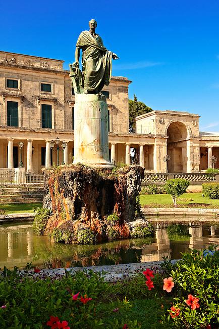 Statue of Sir Douglas Adam outside the Palaia Anaktora [ ?????? ???????? ] , the Museum of Asian Art Corfu city, Greek Ionian islands