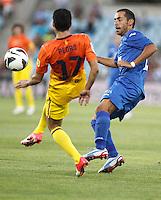 GETAFE, ESPANHA, 15 SETEMBRO 2012 - CAMP. ESPANHOL - GETAFE X BARCELONA - Pedro (E) jogador do Barcelona durante lance de partida contra o Getafe em jogo valido pela 4 rodada do campeonato espanhol em Getafe na Espanha, neste sabado. O Barcelona venceu por 4 a 1 e se mantem na lideranca. (FOTO: ALFAQUI / BRAZIL PHOTO PRESS).