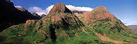 © David Paterson.The Glencoe hills in summer - the Ben Fhada range (left), Gearr Aonach, Stob Coire nan Lochan (in cloud) and Aonach Dubh...Keywords: hills, mountains, range, ridge, summit, peak, cliffs, rocks, high, steep, summer, Glencoe, Scotland, Highlands, Argyll