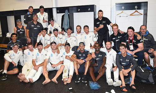24.02.2016. Christchurch, New Zealand.  Retiring New Zealand captain Brendon McCullum with team mates in the dressing room at the conclusion of the 2nd test match. New Zealand Black Caps versus Australia. Hagley Oval in Christchurch, New Zealand. Wednesday 24 February 2016.
