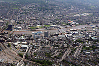 Aerial view of river Usk in Newport south Wales