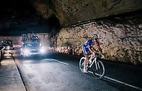Arnaud D&eacute;mare (FRA/Groupama-FDJ) rolling as the very last through a spectacular huge/dark cave: the 'Grotte du Mas-d'Azil'<br /> <br /> Stage 16: Carcassonne &gt; Bagn&egrave;res-de-Luchon (218km)<br /> <br /> 105th Tour de France 2018<br /> &copy;kramon