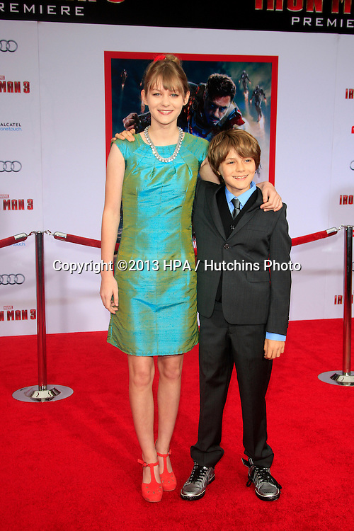 "LOS ANGELES - APR 24:  Ryan Simpkins, Ty Simpkins arrives at the ""Iron Man 3"" LA premiere at the El Capitan Theater on April 24, 2013 in Los Angeles, CA"