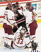 Andie Anastos (BC - 23), Hayley Scamurra (NU - 14), Katie Burt (BC - 33), Kali Flanagan (BC - 10), Dana Trivigno (BC - 8) - The Boston College Eagles defeated the Northeastern University Huskies 5-1 (EN) in their NCAA Quarterfinal on Saturday, March 12, 2016, at Kelley Rink in Conte Forum in Boston, Massachusetts.
