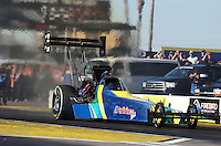 Feb. 22, 2013; Chandler, AZ, USA; NHRA top fuel dragster driver Sidnei Frigo during qualifying for the Arizona Nationals at Firebird International Raceway. Mandatory Credit: Mark J. Rebilas-