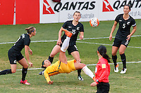 June 4, 2016: KYAH SIMON (17) of Australia attempts a bicycle kick during an international friendly match between the Australian Matildas and the New Zealand Football Ferns as part of the teams' preparation for the Rio Olympic Games at Morshead Park in Ballarat. Photo Sydney Low