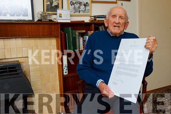 jack mckenna with the presidents letter on friday last as he celebrates his 100th birthday