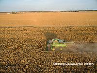 63801-08415 Corn Harvest, John Deere combine harvesting corn - aerial Marion Co. IL
