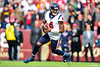 Landover, MD - November 18, 2018: Houston Texans quarterback Deshaun Watson (4) rolls out of the pocket during first half action of game between the Houston Texans and the Washington Redskins at FedEx Field in Landover, MD. (Photo by Phillip Peters/Media Images International)
