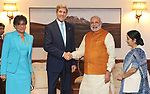 (140801) -- NEW DELHI, Aug. 1, 2014 () -- U.S. Secretary of State John Kerry (2nd L) shakes hands with Indian Prime Minister Narendra Modi (2nd R) in New Delhi, India, on Aug. 1, 2014. Indian Prime Minister Narendra Modi Friday met here with visiting U.S. Secretary of State John Kerry on bilateral as well as regional and global issues, said Indian official sources. (/Press Information Bureau)