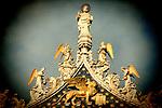 Saint Mark, the Venetian Lion and angels on the top of Saint Mark Basilica, Venice, Italy