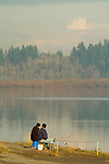 Men fishing at Vancouver Lake, Washington