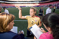 Christie Rampone talks with media after the game. USA defeated Brazil 2-0 at Giants Stadium on Sunday, June 23, 2007.