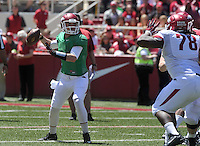 NWA Democrat-Gazette/Michael Woods --04/25/2015--w@NWAMICHAELW... University of Arkansas rquarterback Brandon Allen drops back to pass during the 2015 Red-White game Saturday afternoon at Razorback Stadium in Fayetteville.