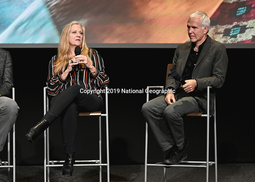 "LOS ANGELES - JUNE 5:  Lori McCreary and James Younger attend an FYC event for National Geographic's ""The Story of God"" at the TV Academy on June 5, 2019 in Los Angeles, California. (Photo by Scott Kirkland/National Geographic/PictureGroup)"