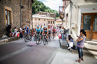 the peloton, including Oliver Naesen (BEL/AG2R La Mondiale) and Kasper Asgreen (DEN/Deceuninck Quick Step), rolling through to town.  <br /> <br /> Stage 8: Macon to Saint-Etienne (200km)<br /> 106th Tour de France 2019 (2.UWT)<br /> <br /> ©kramon