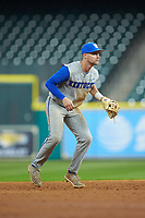 Kentucky Wildcats shortstop Trey Dawson (2) on defense against the Houston Cougars in game two of the 2018 Shriners Hospitals for Children College Classic at Minute Maid Park on March 2, 2018 in Houston, Texas.  The Wildcats defeated the Cougars 14-2 in 7 innings.   (Brian Westerholt/Four Seam Images)